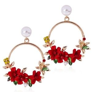 ✨Red Delicate Flower Fashion Hoops_NWT